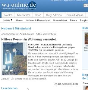 Die Meldung aus WA-Online