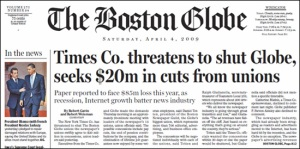 Der Boston Globe berichtet über die eigenen Probleme