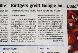 Rüttgers vs. Google (gefunden in der WAZ)