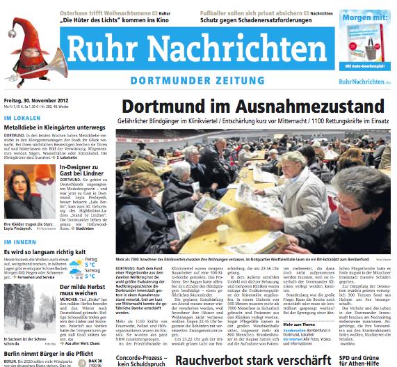 Titelseite der Ruhr Nachrichten vom 30.11.2012